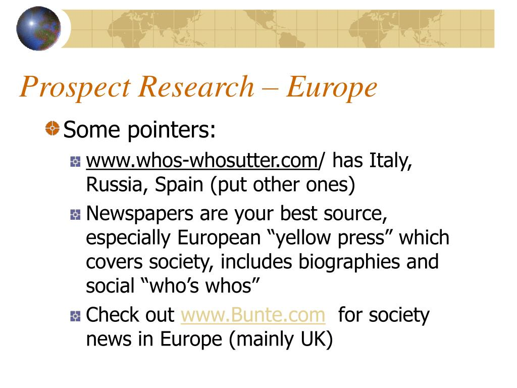 Prospect Research – Europe