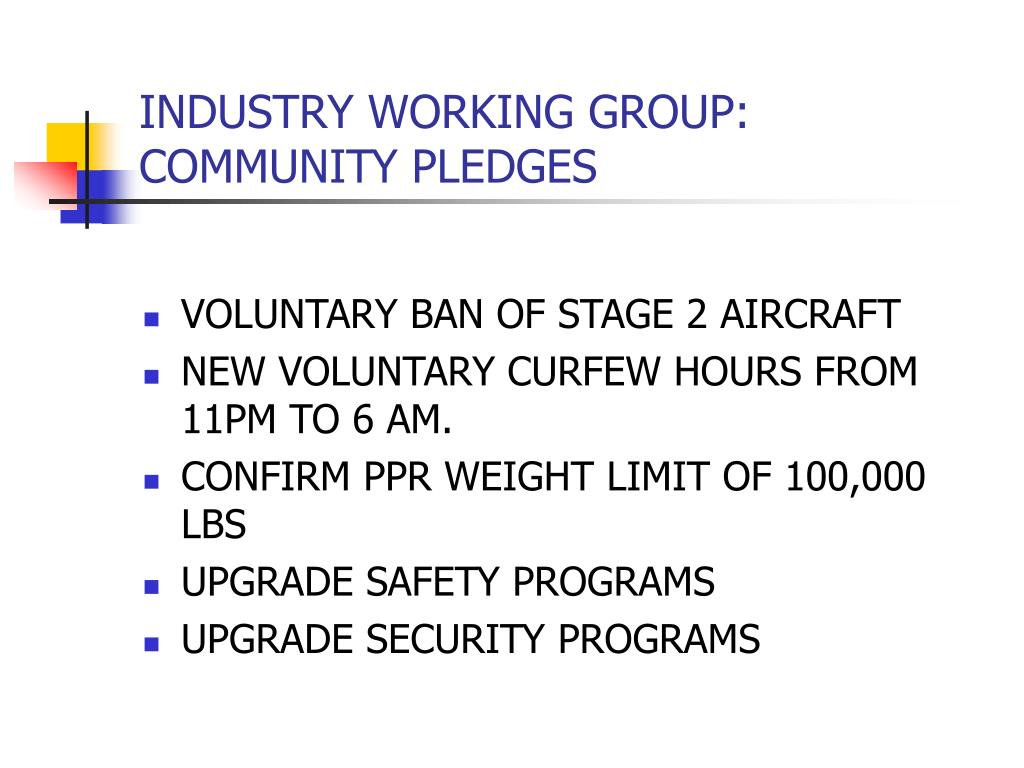 INDUSTRY WORKING GROUP: COMMUNITY PLEDGES