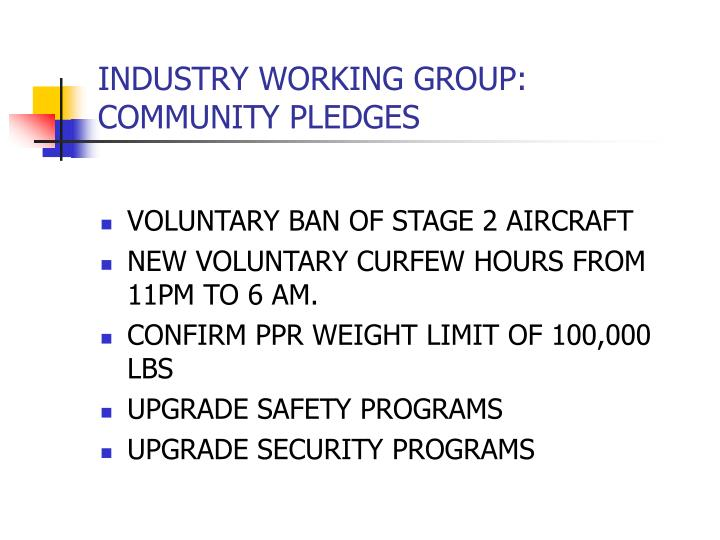 Industry working group community pledges