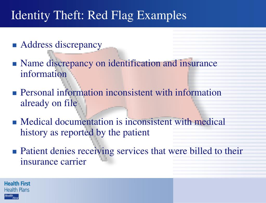 Identity Theft: Red Flag Examples