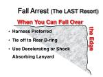fall arrest the last resort