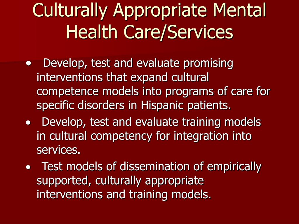 Culturally Appropriate Mental Health Care/Services