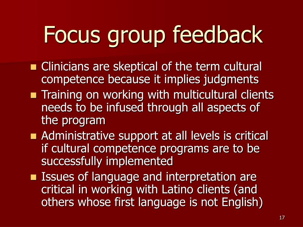 Focus group feedback