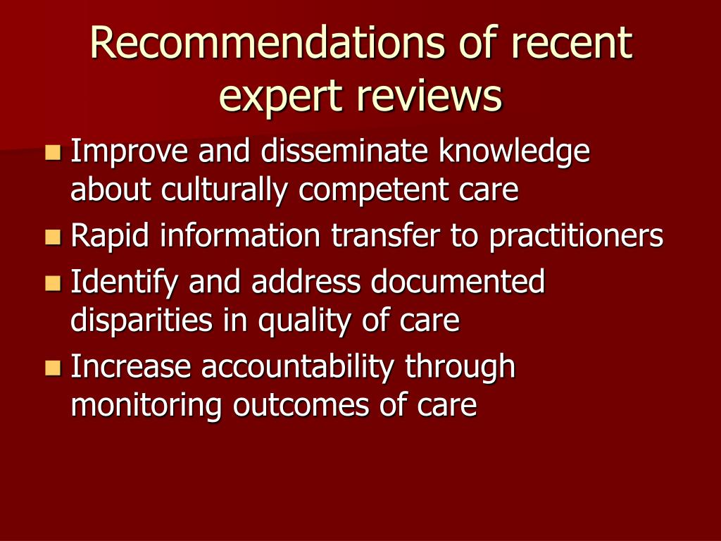 Recommendations of recent expert reviews