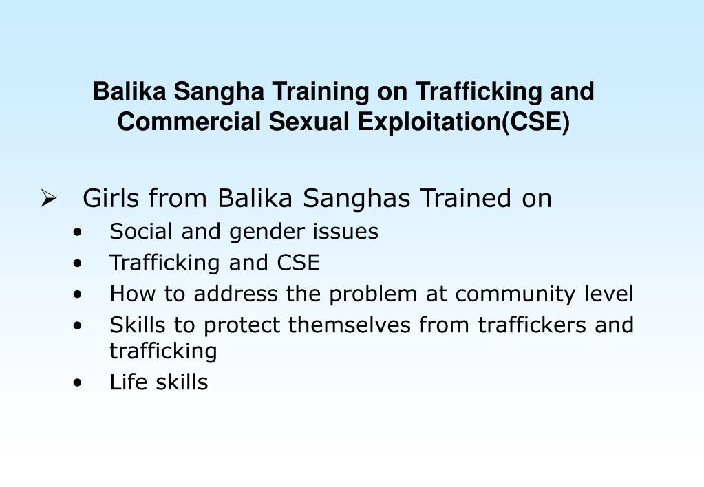Balika Sangha Training on Trafficking and Commercial Sexual Exploitation(CSE)