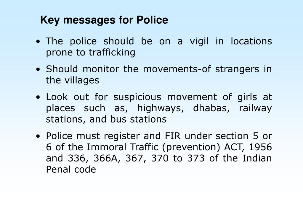 Key messages for Police