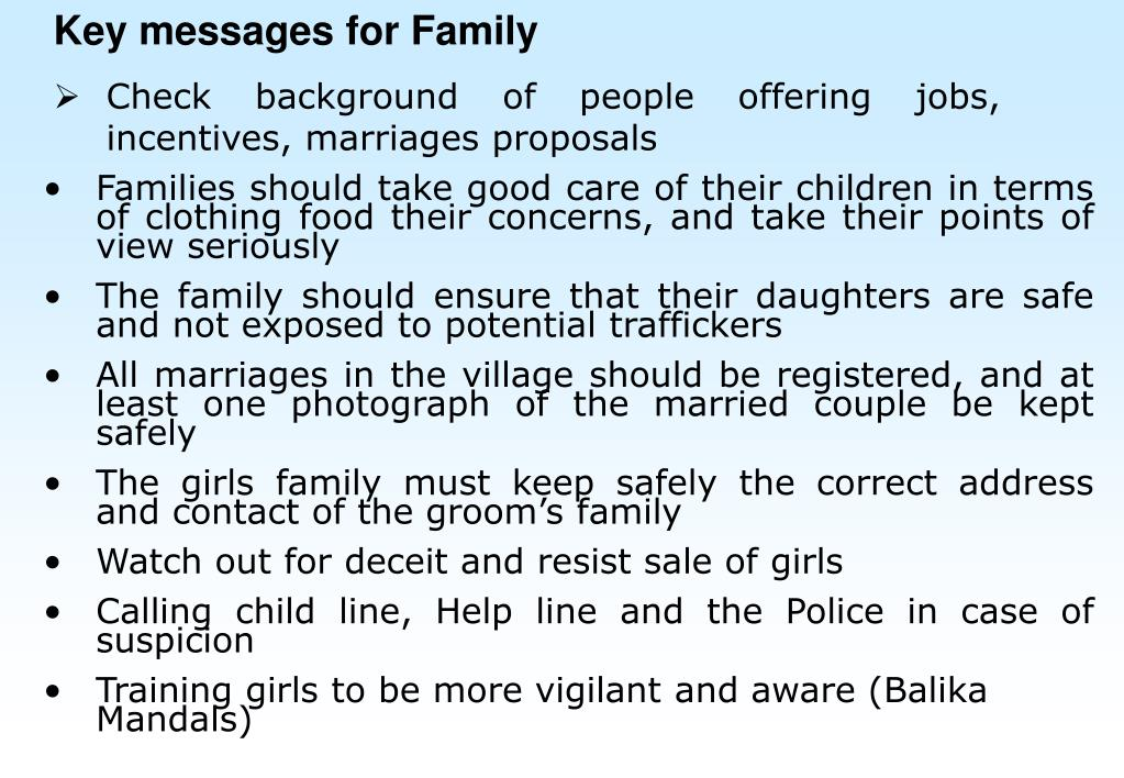 Key messages for Family