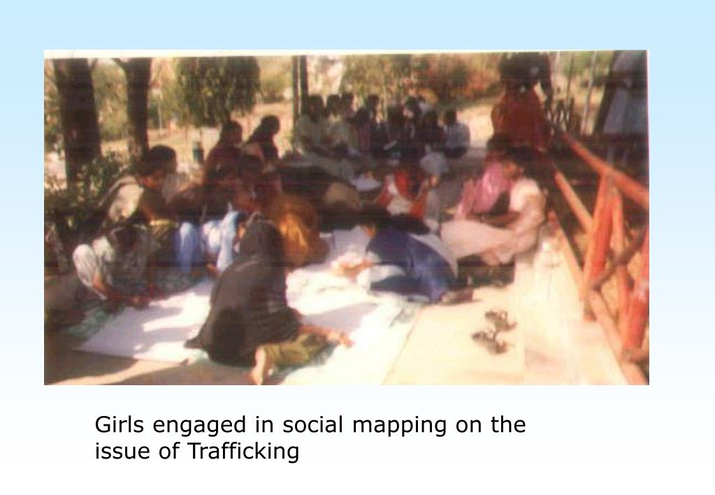 Girls engaged in social mapping on the issue of Trafficking
