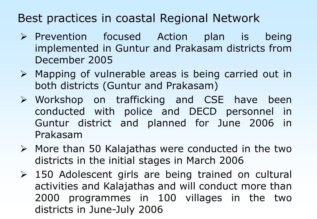Best practices in coastal Regional Network