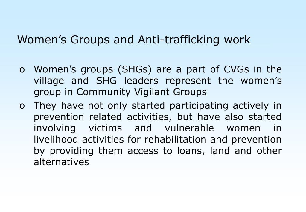 Women's Groups and Anti-trafficking work