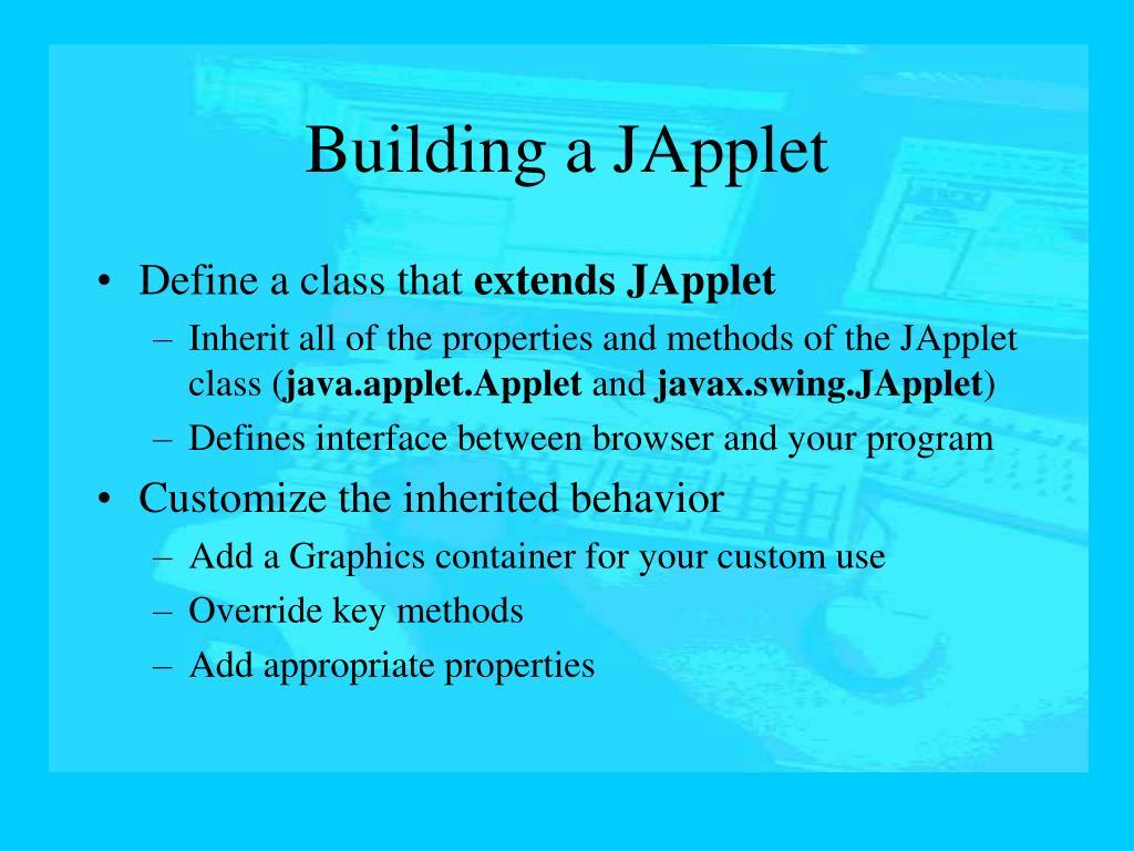 Building a JApplet