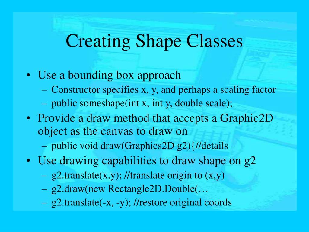 Creating Shape Classes