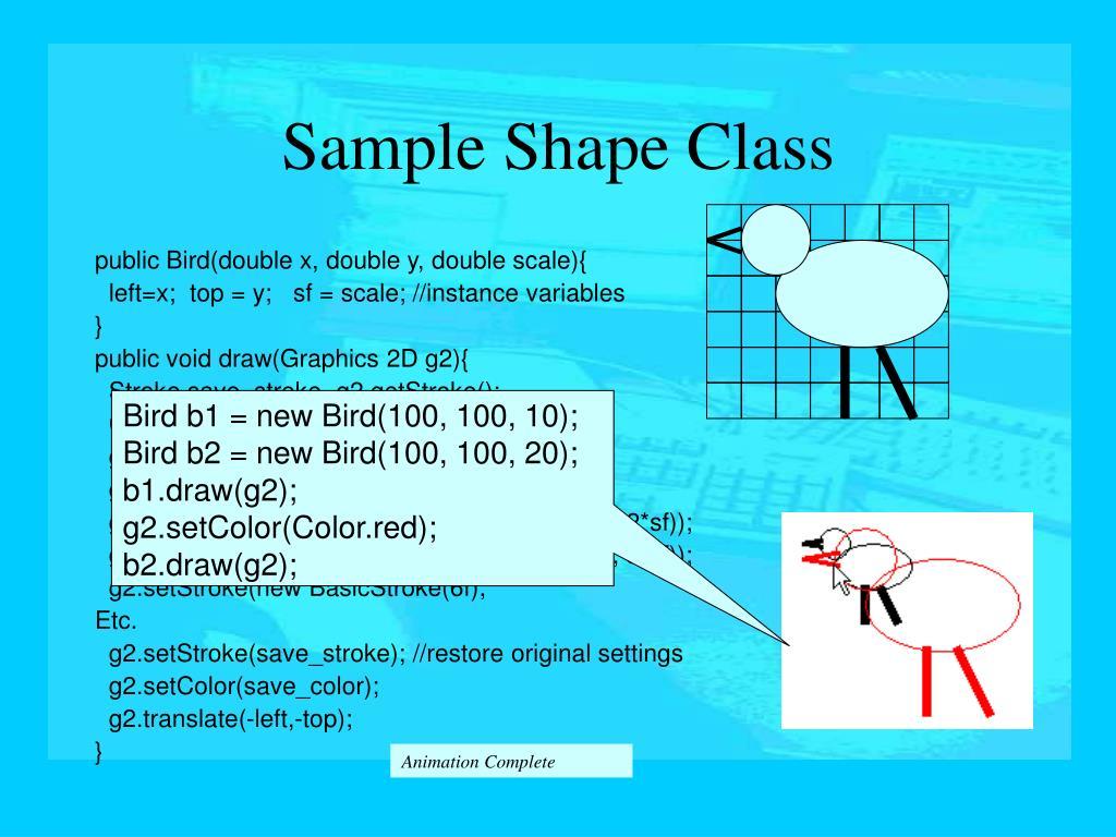 Bird b1 = new Bird(100, 100, 10);