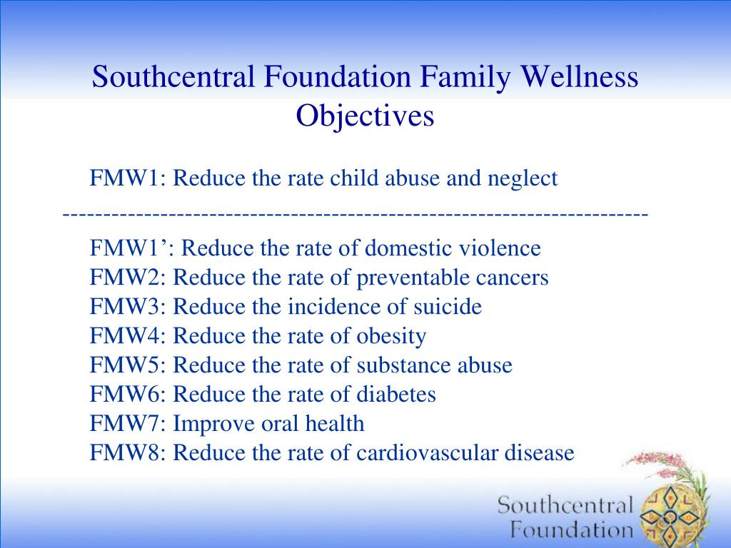 Southcentral Foundation Family Wellness Objectives