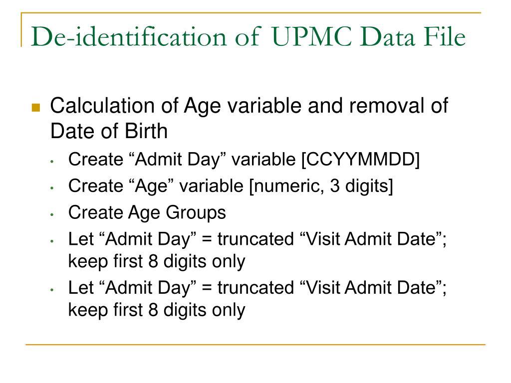 De-identification of UPMC Data File