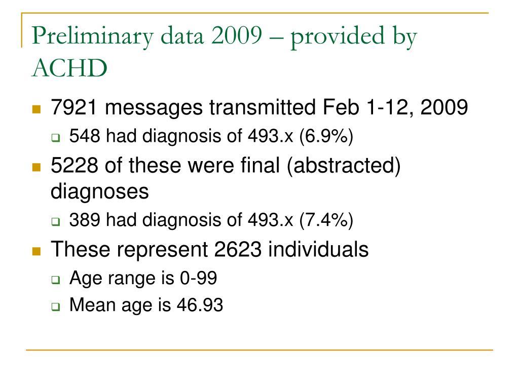 Preliminary data 2009 – provided by ACHD