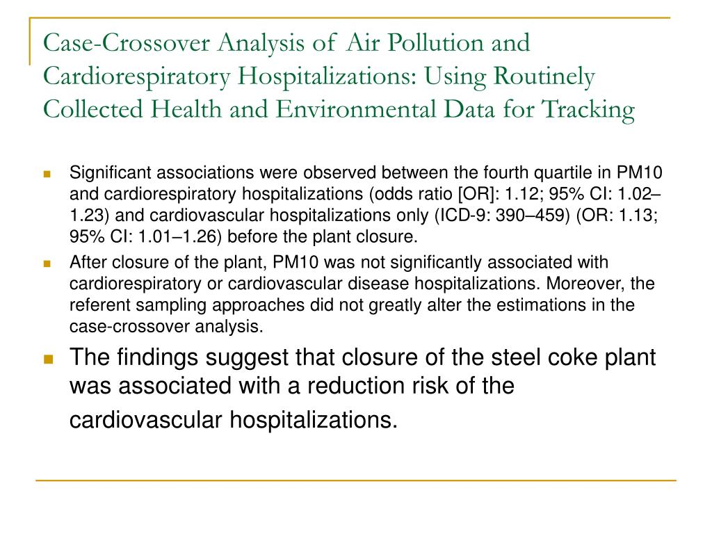 Case-Crossover Analysis of Air Pollution and Cardiorespiratory Hospitalizations: Using Routinely Collected Health and Environmental Data for Tracking