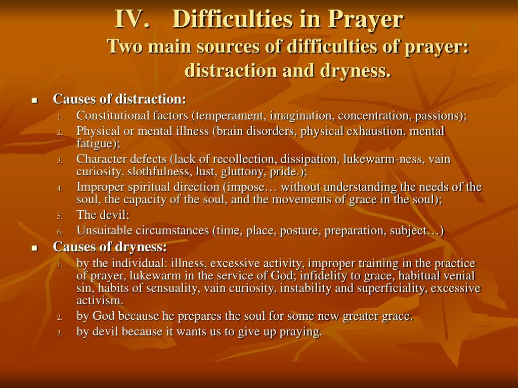 Difficulties in Prayer