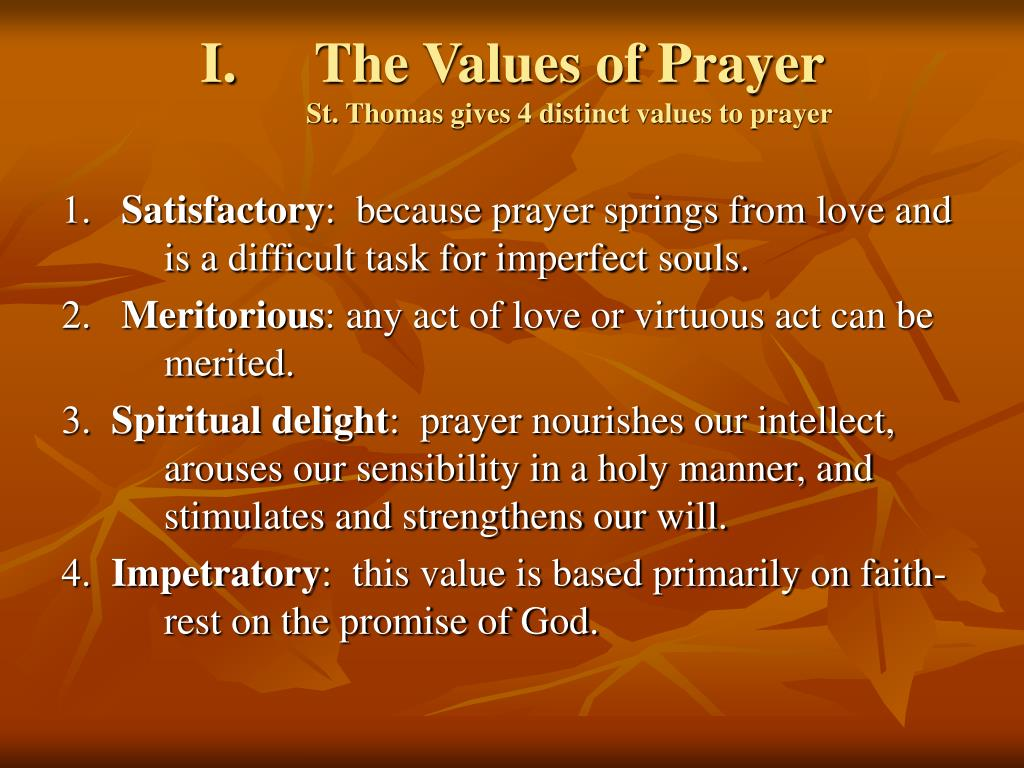 The Values of Prayer
