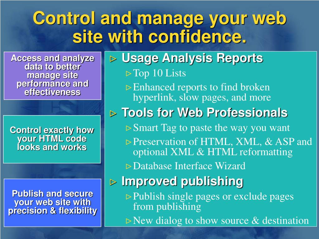 Control and manage your web site with confidence.