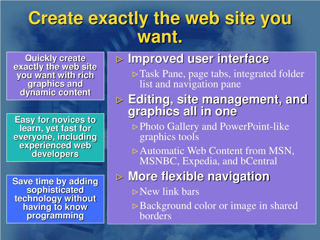 Create exactly the web site you want.