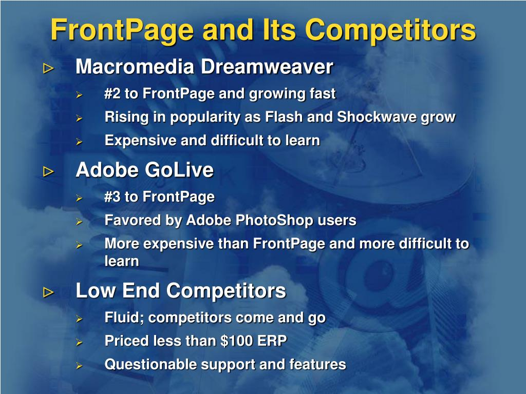 FrontPage and Its Competitors