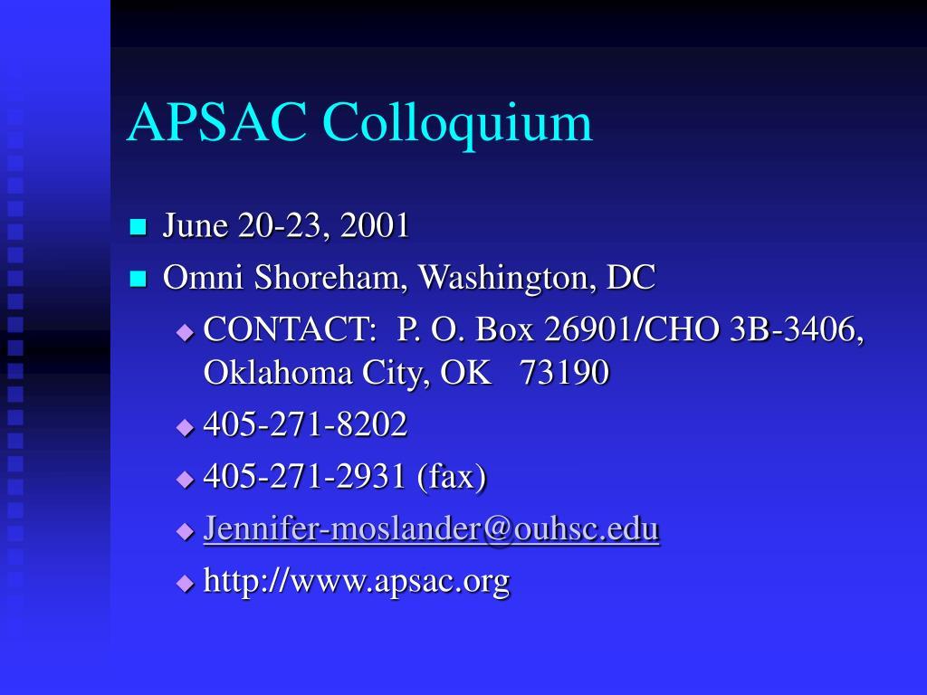 APSAC Colloquium