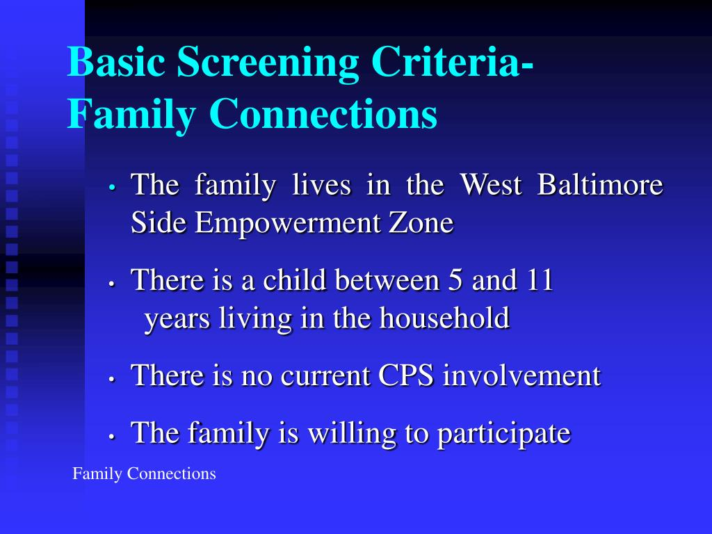 Basic Screening Criteria-