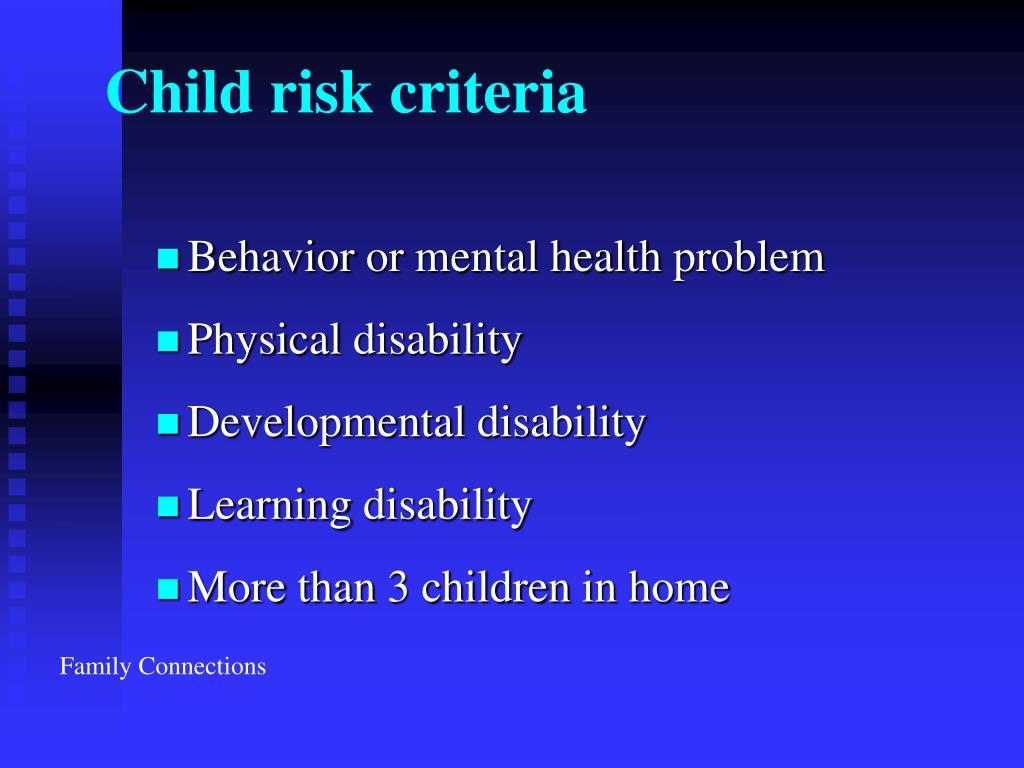 Child risk criteria