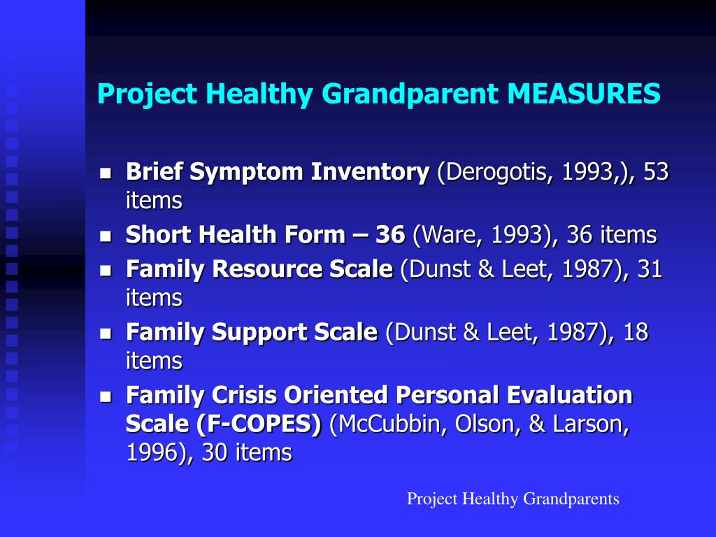 Project Healthy Grandparent MEASURES
