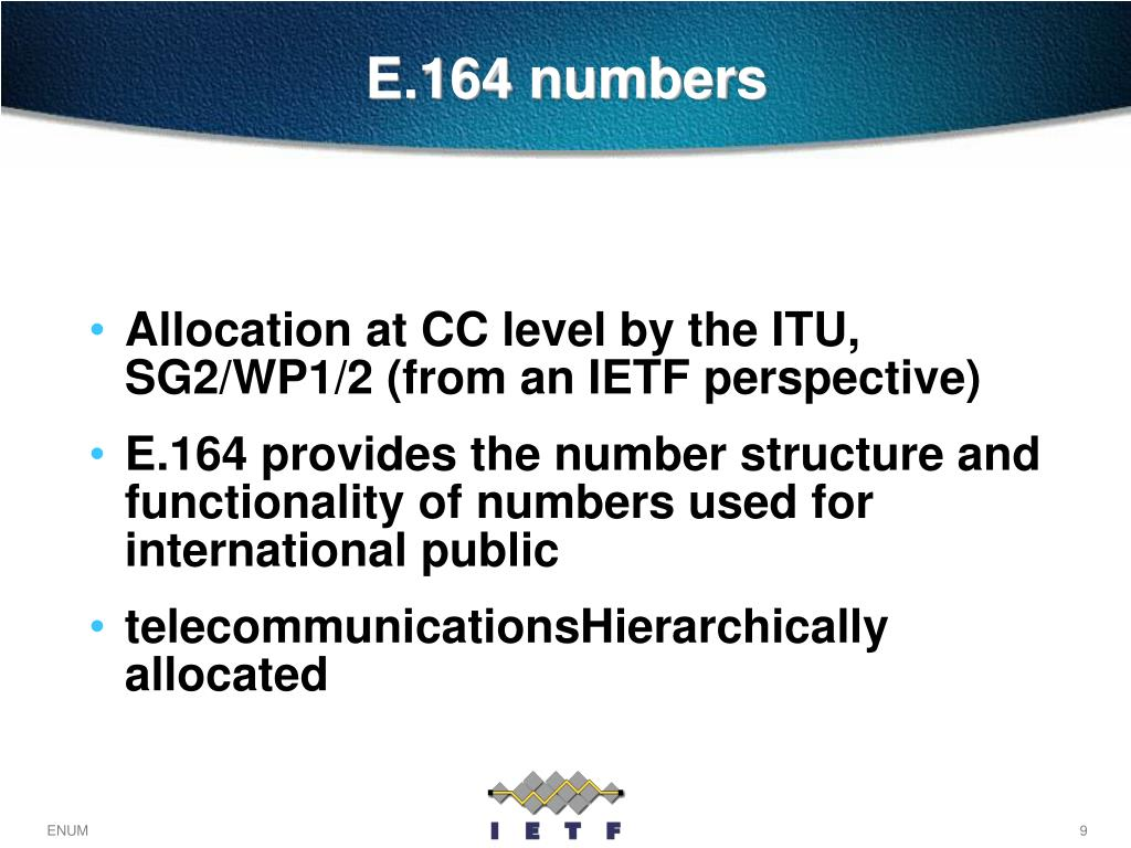 Allocation at CC level by the ITU, SG2/WP1/2 (from an IETF perspective)