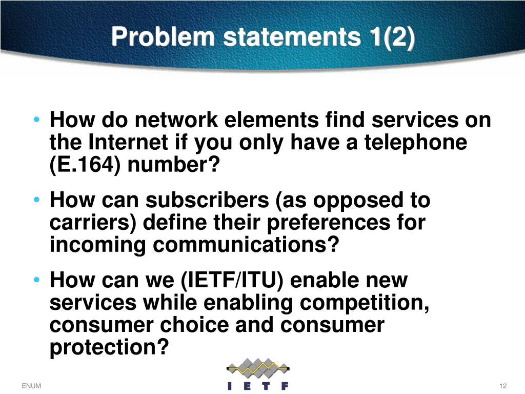 Problem statements 1(2)