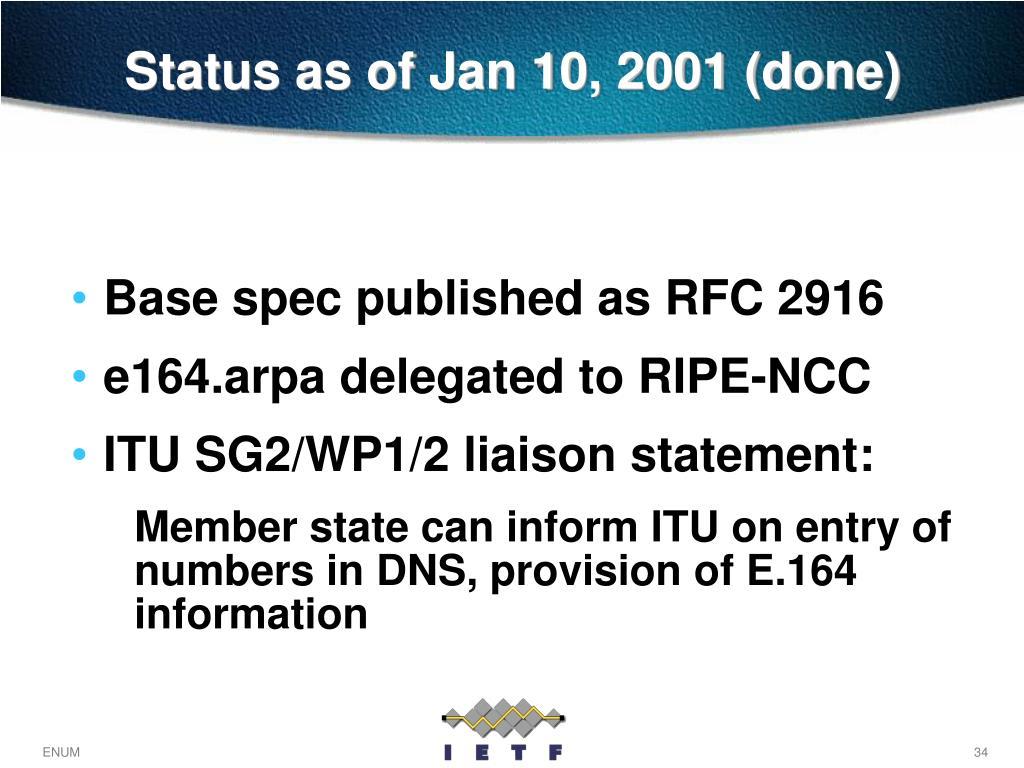 Status as of Jan 10, 2001 (done)