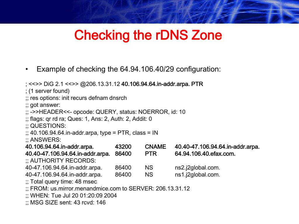 Checking the rDNS Zone
