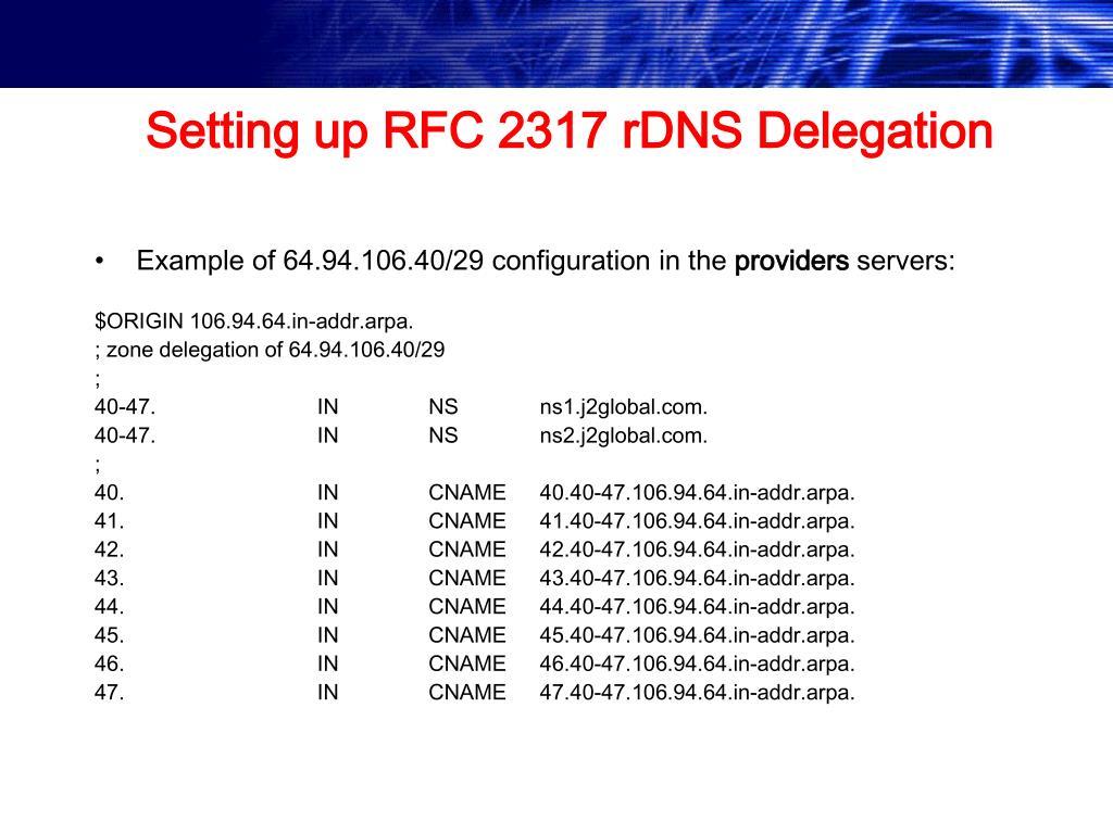 Setting up RFC 2317 rDNS Delegation