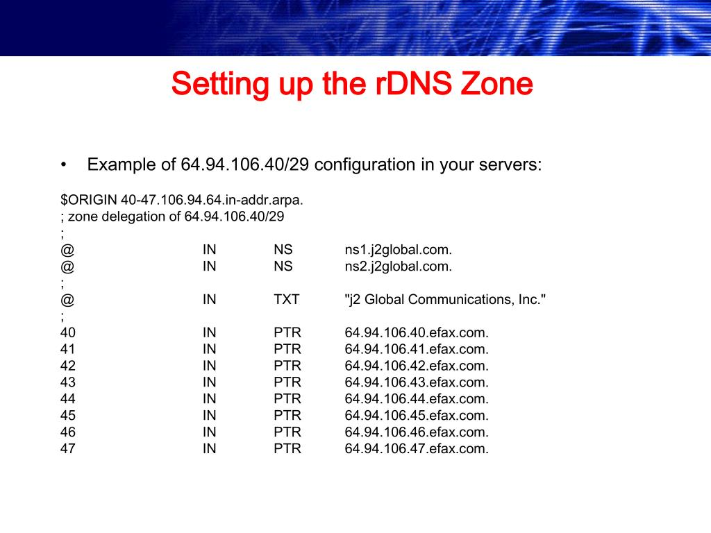 Setting up the rDNS Zone