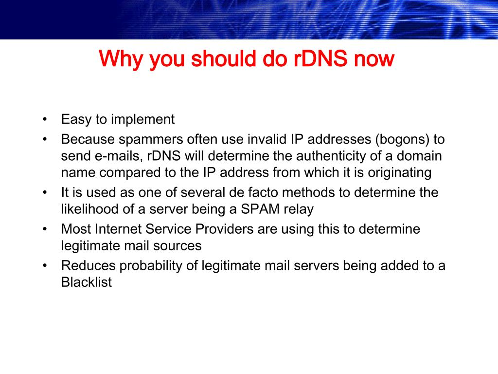 Why you should do rDNS now