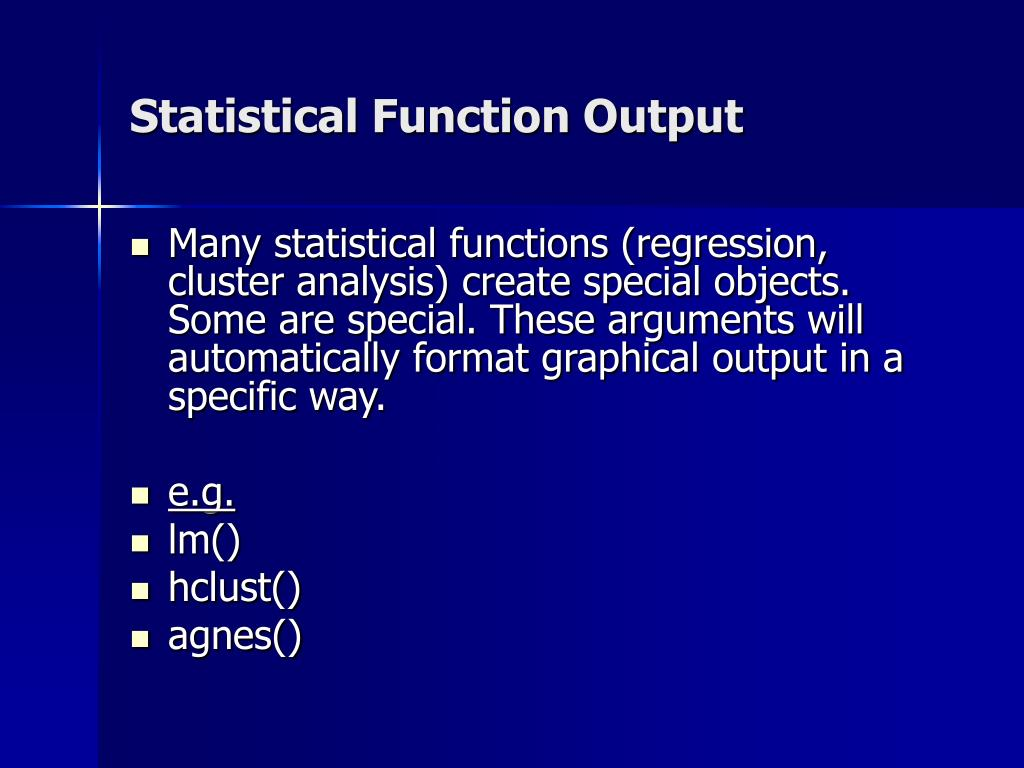 Statistical Function Output