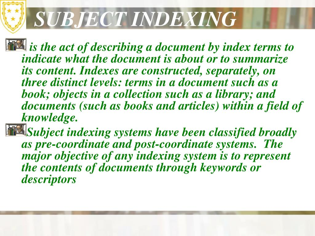 SUBJECT INDEXING