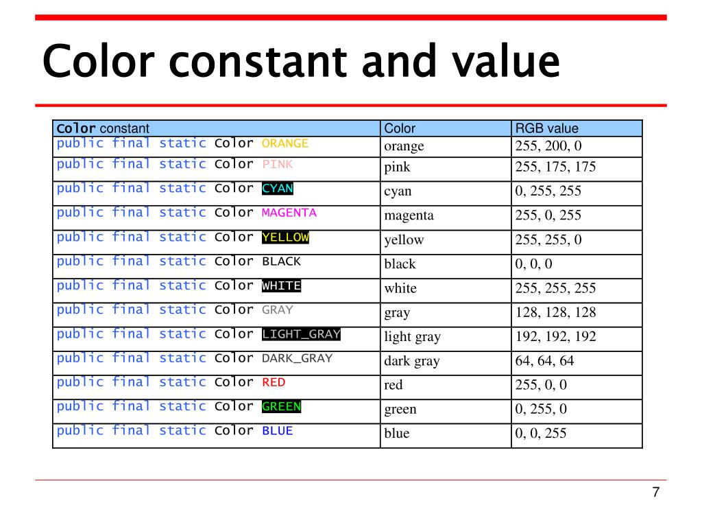 Color constant and value