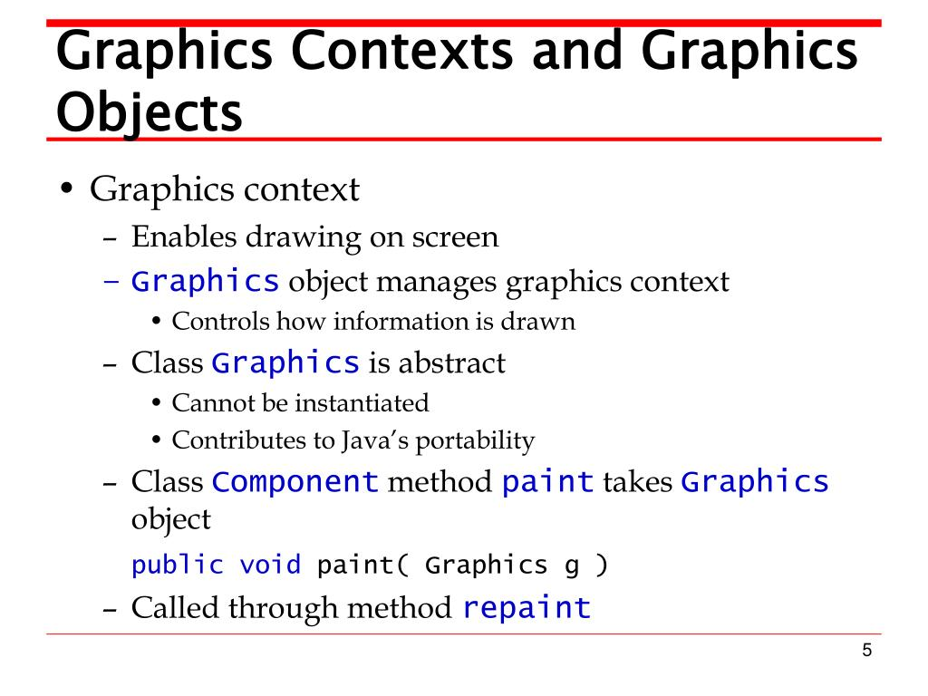 Graphics Contexts and Graphics Objects
