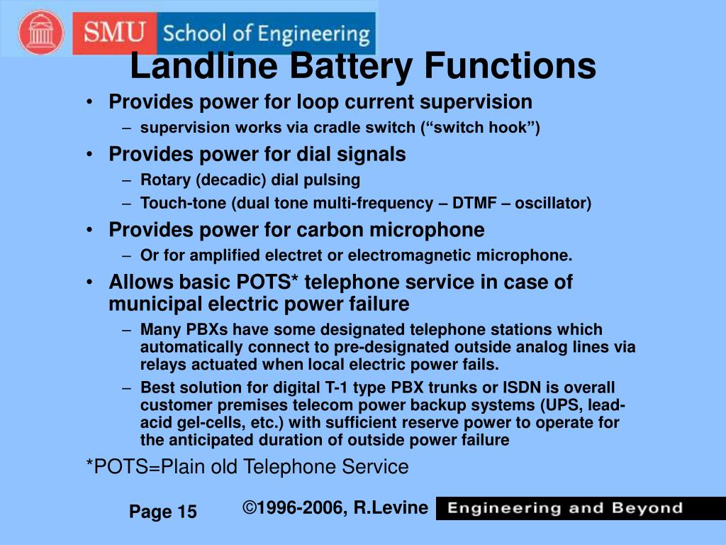 Landline Battery Functions