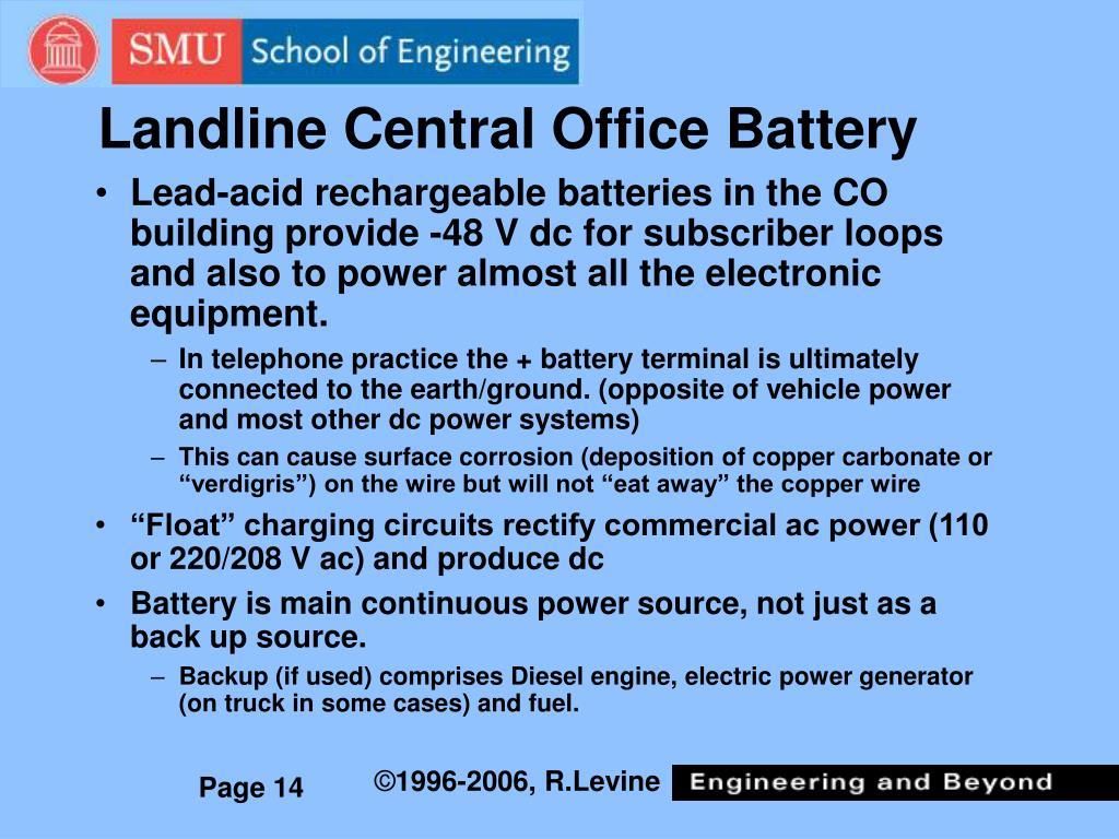Landline Central Office Battery