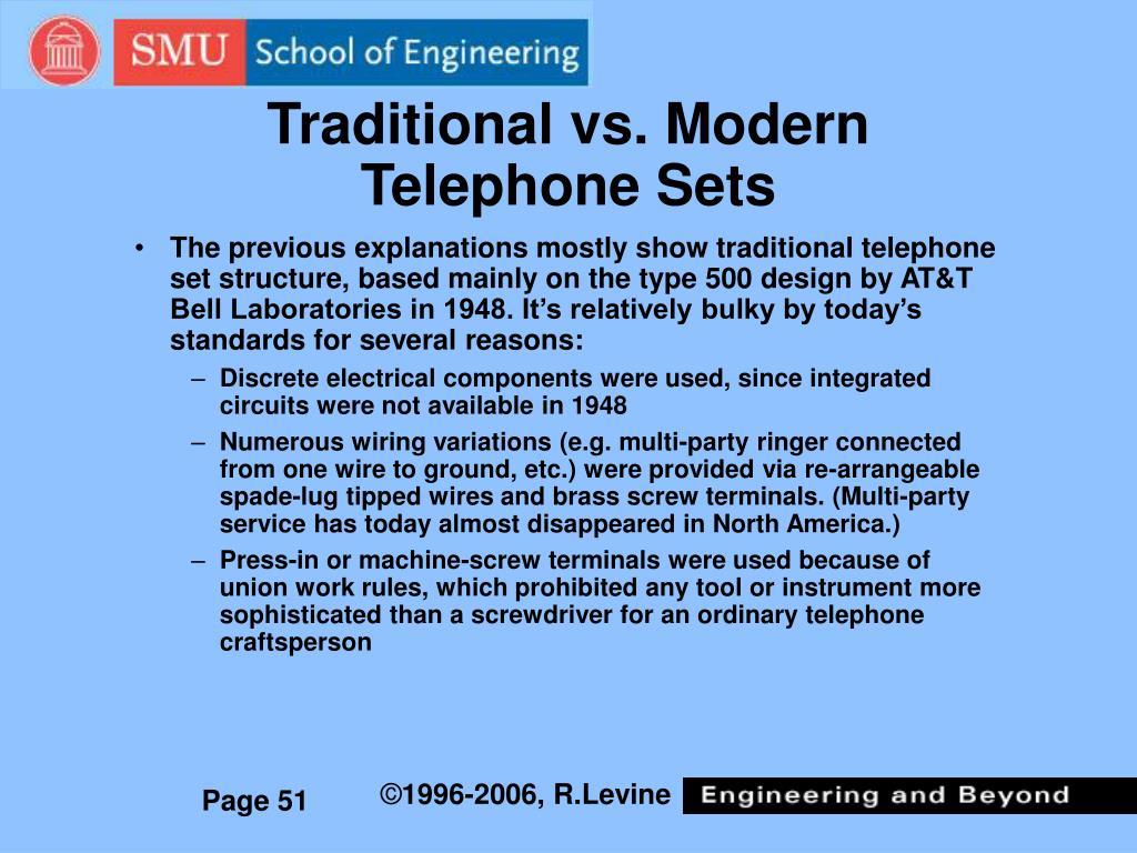 Traditional vs. Modern Telephone Sets