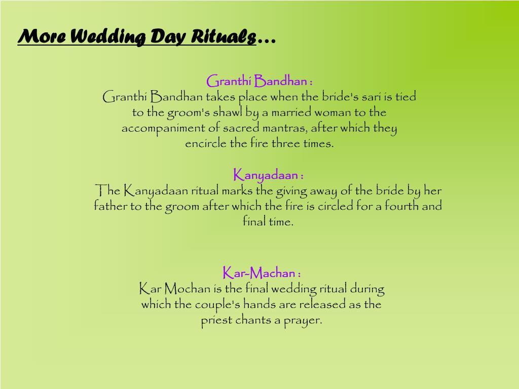More Wedding Day Rituals