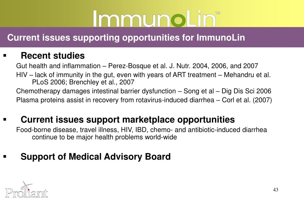 Current issues supporting opportunities for ImmunoLin
