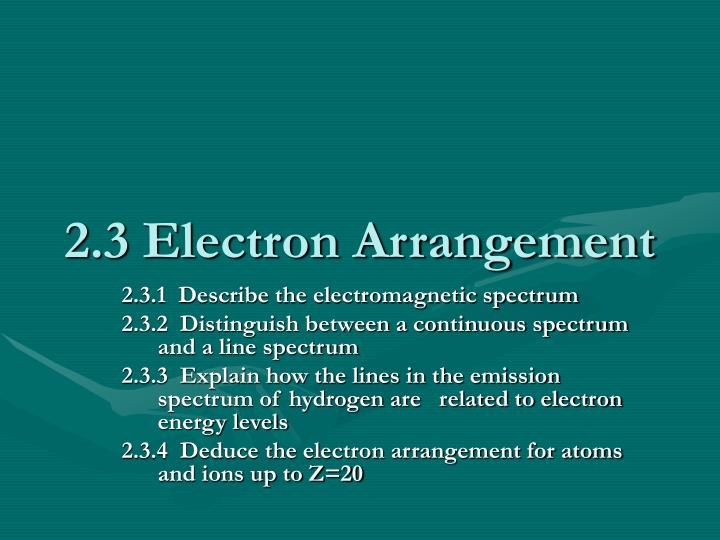 2 3 electron arrangement