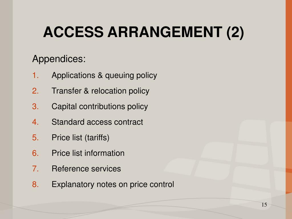 ACCESS ARRANGEMENT (2)