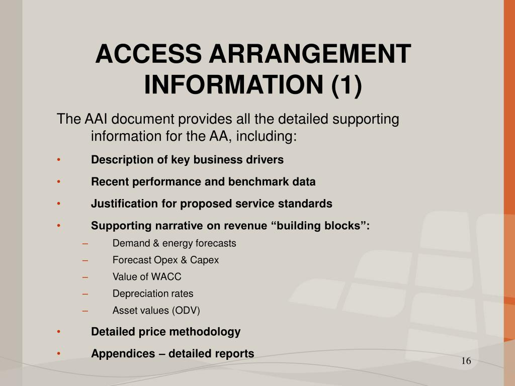 ACCESS ARRANGEMENT INFORMATION (1)