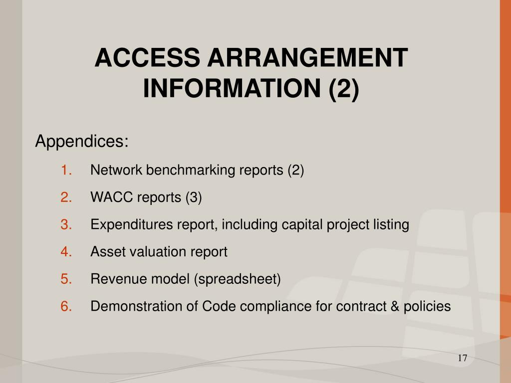 ACCESS ARRANGEMENT INFORMATION (2)